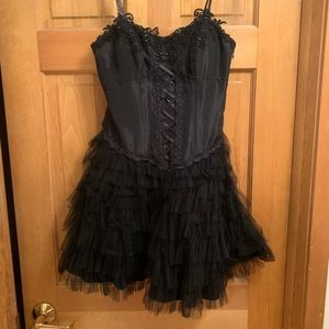 Black strapless tutu corset dress